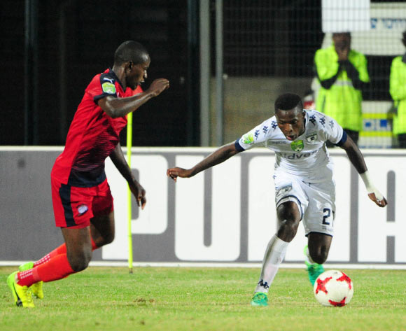 Ananias Gebhardt of Jomo Cosmos challenges Phakamani Mahlambi of Bidvest Wits during the Absa Premiership 2016/17 match between Jomo Cosmos and Bidvest Wits at Tsakane Stadium on 4 April 2017 ©Aubrey Kgakatsi/BackpagePix