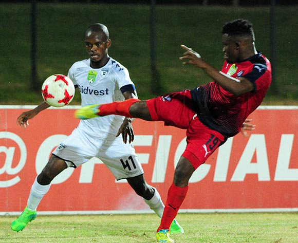 Phumlani Ntshangase of Bidvest Wits challenges Thato Lingwati of Jomo Cosmos during the Absa Premiership 2016/17 match between Jomo Cosmos and Bidvest Wits at Tsakane Stadium on 4 April 2017 ©Aubrey Kgakatsi/BackpagePix
