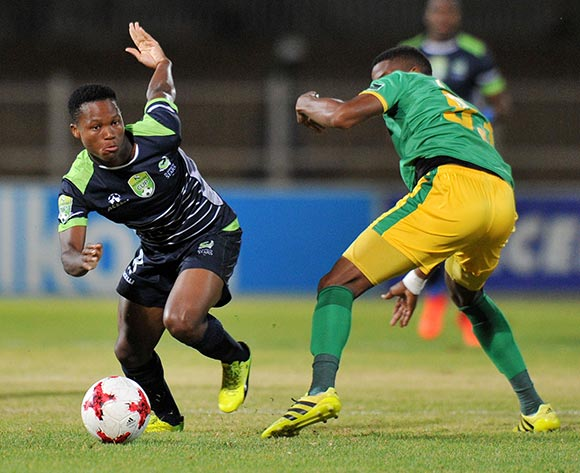 Kobamelo Kodisang of Platinum Stars challenged by Nyasha Munetsi of Baroka FC during the 2017 Nedbank Cup match between Baroka FC and Platinum Stars at Old Peter Mokaba Stadium, Polokwane South Africa on 04 April 2017 ©Muzi Ntombela/BackpagePix