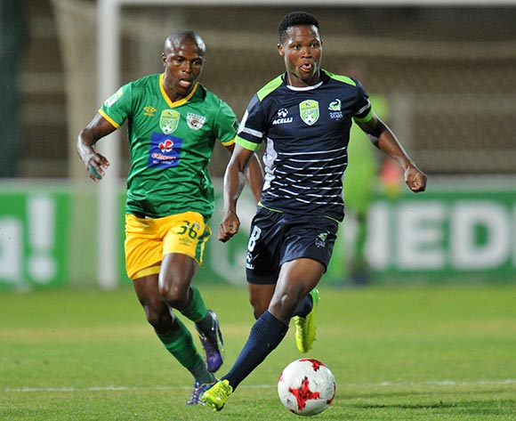 Kobamelo Kodisang of Platinum Stars challenged by Mxolisi Kunene of Baroka FC during the 2017 Nedbank Cup match between Baroka FC and Platinum Stars at Old Peter Mokaba Stadium, Polokwane South Africa on 04 April 2017 ©Muzi Ntombela/BackpagePix