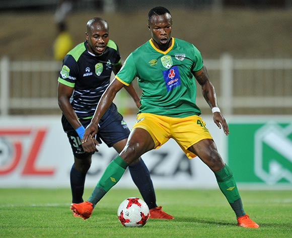 Letladi Madubanya of Baroka FC challenged by Bonginkosi Ntuli of Platinum Stars during the 2017 Nedbank Cup match between Baroka FC and Platinum Stars at Old Peter Mokaba Stadium, Polokwane South Africa on 04 April 2017 ©Muzi Ntombela/BackpagePix