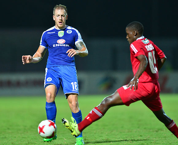 Michael Morton of Supersport United challenged by Brown Khumalo of Kwadukuza United during the 2017 Nedbank Cup match between Kwadukuza United and Supersport United at the Sugar Ray Xulu Stadium, South Africa on 04 April 2017 ©Samuel Shivambu/BackpagePix