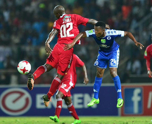Nzuzo Luthuli of Kwadukuza United challenged by Mandla Masango of Supersport United during the 2017 Nedbank Cup match between Kwadukuza United and Supersport United at the Sugar Ray Xulu Stadium, South Africa on 04 April 2017 ©Samuel Shivambu/BackpagePix