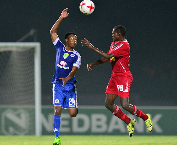 Mandla Masango of Supersport United challenged by Brown Khumalo of Kwadukuza United during the 2017 Nedbank Cup match between Kwadukuza United and Supersport United at the Sugar Ray Xulu Stadium, South Africa on 04 April 2017 ©Samuel Shivambu/BackpagePix