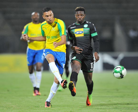 Ricardo Nascimento of Mamelodi Sundowns challenged by Tshegofatso Mabaso of Bloemfontein Celtic during the Absa Premiership 2016/17 match between Mamelodi Sundowns and Bloemfontein Celtic at Lucas Moripe Stadium, Atteridgeville South Africa on 05 April 2017 ©Muzi Ntombela/BackpagePix