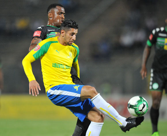 Leonardo Castro of Mamelodi Sundowns challenged by Alfred Ndengane of Bloemfontein Celtic during the Absa Premiership 2016/17 match between Mamelodi Sundowns and Bloemfontein Celtic at Lucas Moripe Stadium, Atteridgeville South Africa on 05 April 2017 ©Muzi Ntombela/BackpagePix