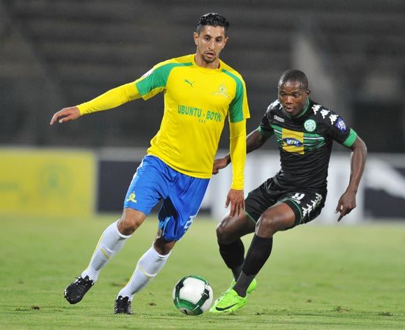 Leonardo Castro of Mamelodi Sundowns challenged by Lantshene Phalane of Bloemfontein Celtic during the Absa Premiership 2016/17 match between Mamelodi Sundowns and Bloemfontein Celtic at Lucas Moripe Stadium, Atteridgeville South Africa on 05 April 2017 ©Muzi Ntombela/BackpagePix