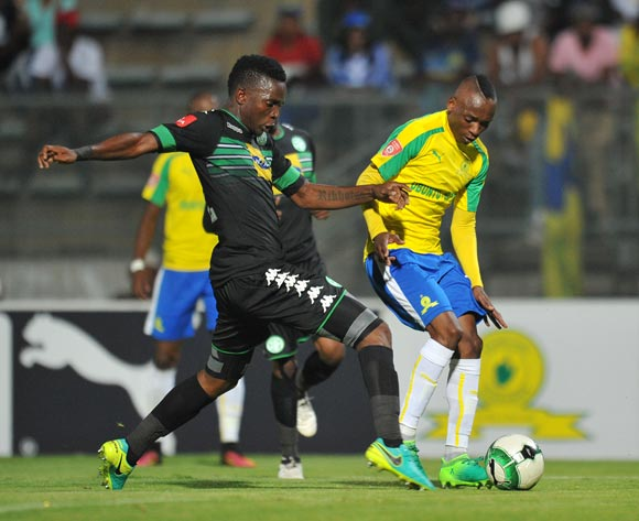 Khama Billiat of Mamelodi Sundowns challenged by Tshepo Rikhotso of Bloemfontein Celtic during the Absa Premiership 2016/17 match between Mamelodi Sundowns and Bloemfontein Celtic at Lucas Moripe Stadium, Atteridgeville South Africa on 05 April 2017 ©Muzi Ntombela/BackpagePix