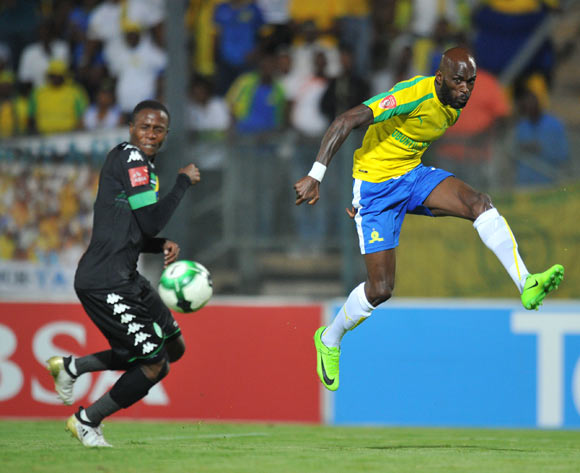 Anthony Laffor of Mamelodi Sundowns challenged by Mthokozisi Dube of Bloemfontein Celtic during the Absa Premiership 2016/17 match between Mamelodi Sundowns and Bloemfontein Celtic at Lucas Moripe Stadium, Atteridgeville South Africa on 05 April 2017 ©Muzi Ntombela/BackpagePix