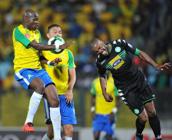 Hlompho Kekana of Mamelodi Sundowns challenged by Wandisile Letlabika of Bloemfontein Celtic during the Absa Premiership 2016/17 match between Mamelodi Sundowns and Bloemfontein Celtic at Lucas Moripe Stadium, Atteridgeville South Africa on 05 April 2017 ©Muzi Ntombela/BackpagePix