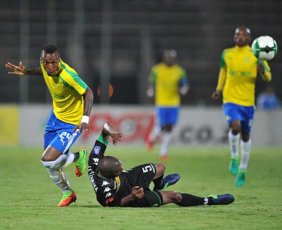 Yannick Zakri of Mamelodi Sundowns fouls Wandisile Letlabika of Bloemfontein Celtic during the Absa Premiership 2016/17 match between Mamelodi Sundowns and Bloemfontein Celtic at Lucas Moripe Stadium, Atteridgeville South Africa on 05 April 2017 ©Muzi Ntombela/BackpagePix