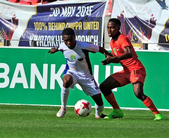 Paseka Mako of Chippa United and Mngomezulu of Polokwane City, during the 2017 Nedbank Cup Last 16 game between Chippa United and Polokwane City at Nelson Mandela Bay Stadium, Port Elizabeth on 8 April 2017 © Deryck Foster/BackpagePix