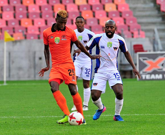 Musona, W of Polokwane City and Sandile Zuke of Chippa United, watched by Siyabonga Ngubane of Free State Stars during the 2017 Nedbank Cup Last 16 game between Chippa United and Polokwane City at Nelson Mandela Bay Stadium, Port Elizabeth on 8 April 2017 © Deryck Foster/BackpagePix