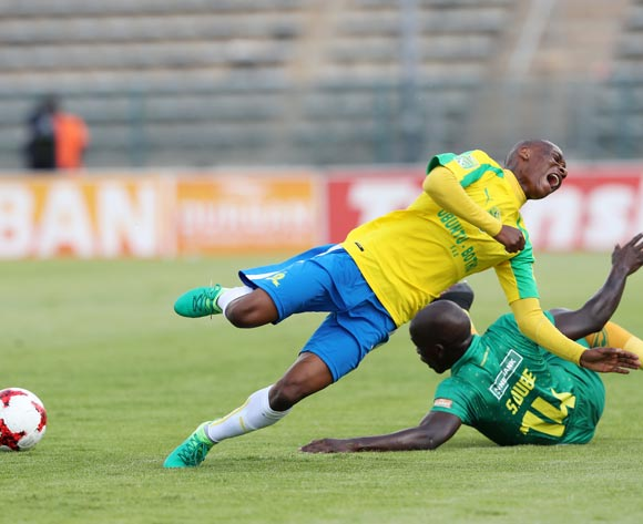 Khama Billiat of Mamelodi Sundowns tackled by Siyabonga Dube of Golden Arrows during the 2017 Nedbank Cup Last 16 football match between Mamelodi Sundowns and Golden Arrows at Lucas Moripe Stadium on 08 April 2017 ©Gavin Barker/BackpagePix