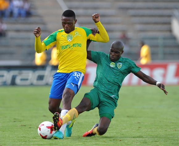Motjeka Madisha of Mamelodi Sundowns tackled by Lerato Lamola of Golden Arrows during the 2017 Nedbank Cup Last 16 match between Mamelodi Sundowns and Golden Arrows at Lucas Moripe Stadium, Atteridgeville South Africa on 08 April 2017 ©Muzi Ntombela/BackpagePix