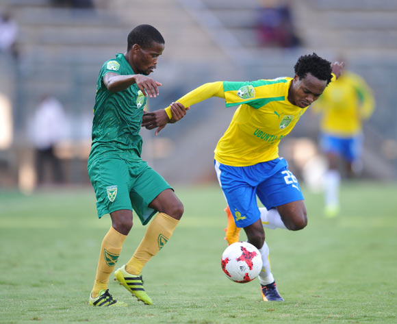 Percy Tau of Mamelodi Sundowns challenged by Nkosinathi Mthiyane of Golden Arrows during the 2017 Nedbank Cup Last 16 match between Mamelodi Sundowns and Golden Arrows at Lucas Moripe Stadium, Atteridgeville South Africa on 08 April 2017 ©Muzi Ntombela/BackpagePix