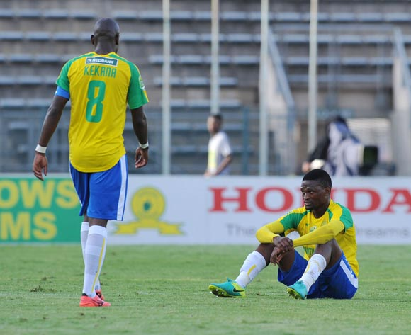 Motjeka Madisha of Mamelodi Sundowns dejected after game during the 2017 Nedbank Cup Last 16 match between Mamelodi Sundowns and Golden Arrows at Lucas Moripe Stadium, Atteridgeville South Africa on 08 April 2017 ©Muzi Ntombela/BackpagePix
