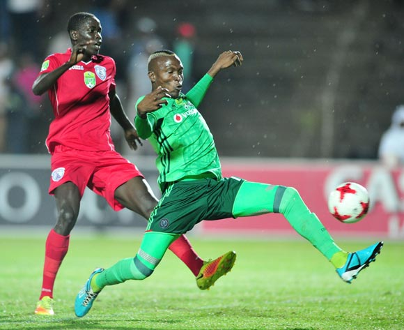 Joseph Okumu of Free State Stars challenges tendai Ndoro Of Orlando Pirates during the 2017 Nedbank Cup match between Free State Stars and Orlando Pirates at the James Motlatsi Stadium, South Africa on 08 April 2017 ©Samuel Shivambu/BackpagePix