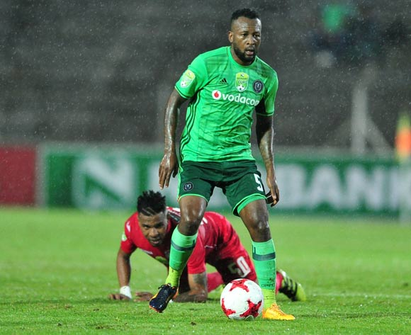 Mpho Makola of Orlando Pirates challenged  by Nhlanhla Vilakazi of Free State Stars during the 2017 Nedbank Cup match between Free State Stars and Orlando Pirates at the James Motlatsi Stadium, South Africa on 08 April 2017 ©Samuel Shivambu/BackpagePix