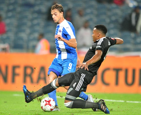 Andrea Fileccia of Maritzburg United tackled by Happy Jele of Orlando Pirates during the 2017 Absa Premiership 2016/17 match between Orlando Pirates and Maritzburg United at the Orlando Stadium, South Africa on 11 April 2017 ©Samuel Shivambu/BackpagePix