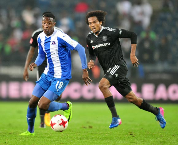 Evans Rusike of Maritzburg United  challenged by Issa Sarr of Orlando Pirates during the 2017 Absa Premiership 2016/17 match between Orlando Pirates and Maritzburg United at the Orlando Stadium, South Africa on 11 April 2017 ©Samuel Shivambu/BackpagePix