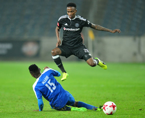 Thembinkosi Lorch of Orlando Pirates challenged by Lebohang Maboe of Maritzburg United during the 2017 Absa Premiership 2016/17 match between Orlando Pirates and Maritzburg United at the Orlando Stadium, South Africa on 11 April 2017 ©Samuel Shivambu/BackpagePix