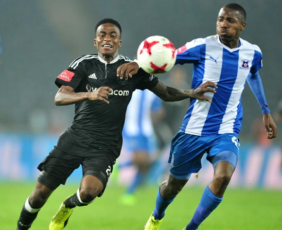 Thembinkosi Lorch of Orlando Pirates challenged by Bandile Shandu of Maritzburg United during the 2017 Absa Premiership 2016/17 match between Orlando Pirates and Maritzburg United at the Orlando Stadium, South Africa on 11 April 2017 ©Samuel Shivambu/BackpagePix