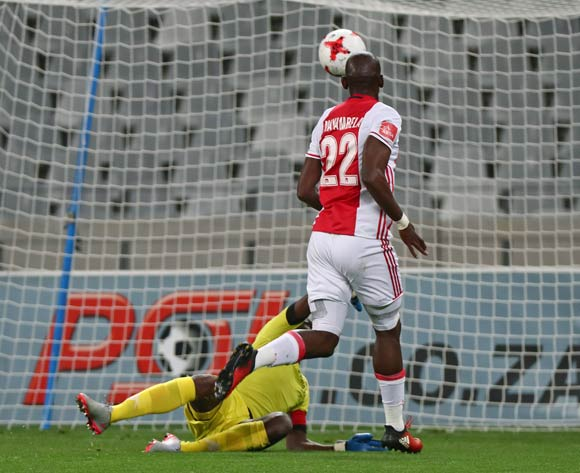 Mark Mayambela of Ajax Cape Town scores goal past Tapuwa Kapini of Highlands Park during the Absa Premiership 2016/17 football match between Ajax Cape Town and Highlands Park at Cape Town Stadium, Cape Town on 12 April 2017 ©Chris Ricco/BackpagePix