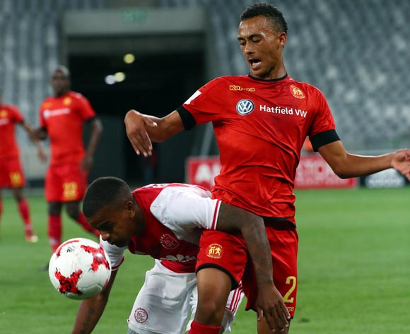 Erwin Isaacs of Ajax Cape Town battles for the ball with Brandon Theron of Highlands Park during the Absa Premiership 2016/17 football match between Ajax Cape Town and Highlands Park at Cape Town Stadium, Cape Town on 12 April 2017 ©Chris Ricco/BackpagePix