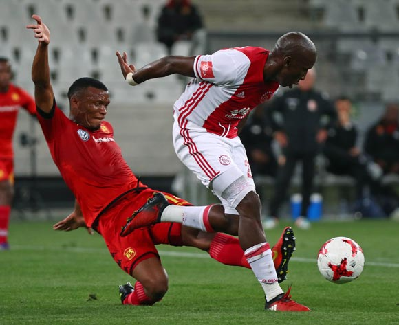 Mark Mayambela of Ajax Cape Town evades challenge from Mothobi Mvala of Highlands Parkduring the Absa Premiership 2016/17 football match between Ajax Cape Town and Highlands Park at Cape Town Stadium, Cape Town on 12 April 2017 ©Chris Ricco/BackpagePix