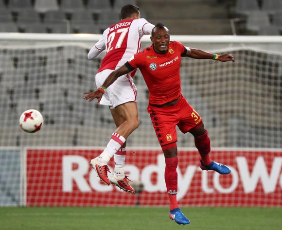 Fikru Lemessa of Highlands Park battles for the ball with Roscoe Pietersen of Ajax Cape Town during the Absa Premiership 2016/17 football match between Ajax Cape Town and Highlands Park at Cape Town Stadium, Cape Town on 12 April 2017 ©Chris Ricco/BackpagePix