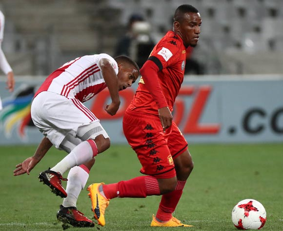 Franklin Cale of Highlands Park challenged by Erwin Isaacs of Ajax Cape Town during the Absa Premiership 2016/17 football match between Ajax Cape Town and Highlands Park at Cape Town Stadium, Cape Town on 12 April 2017 ©Chris Ricco/BackpagePix