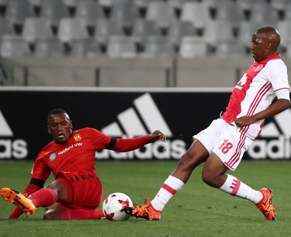 Lebohang Mokoena of Ajax Cape Town battles for the ball with Franklin Cale of Highlands Park during the Absa Premiership 2016/17 football match between Ajax Cape Town and Highlands Park at Cape Town Stadium, Cape Town on 12 April 2017 ©Chris Ricco/BackpagePix