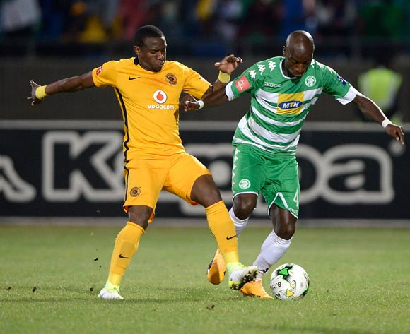 Musa Nyatama of Bloemfontein Celtic and George Maluleka of Kaizer Chiefs during the Absa Premiership 2016/17 game between Bloemfontein Celtic and Kaizer Chiefs at Dr Molemela Stadium, Bloemfontein on 12 April 2017 © Gerhard Steenkamp/BackpagePix