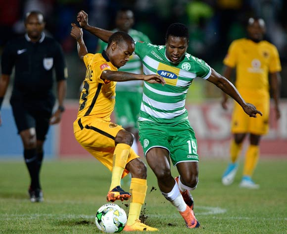 Joseph Molangoane of Kaizer Chiefs and Sibusiso Mxoyana of Bloemfontein Celtic during the Absa Premiership 2016/17 game between Bloemfontein Celtic and Kaizer Chiefs  at Dr Molemela Stadium, Bloemfontein on 12 April 2017 © Gerhard Steenkamp/BackpagePix
