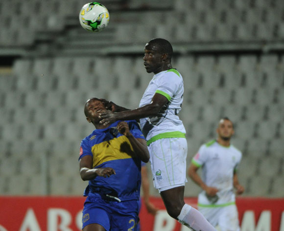 Judas Moseamedi of Cape Town City is challenged by Willem Mwedihanga of Platinum Stars during the Absa Premiership match between Platinum Stars and Cape Town City  on 13 April 2017 at Moruleng Stadium ©Sydney Mahlangu /BackpagePix
