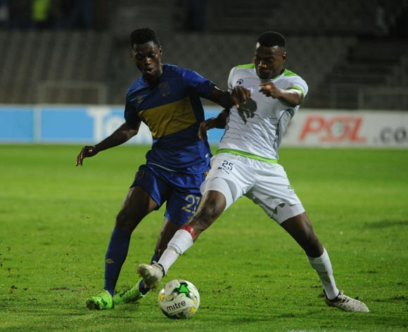 Thato Mokeke of Cape Town City is challenged by Issac Nhlapho of Platinum Stars during the Absa Premiership match between Platinum Stars and Cape Town City  on 13 April 2017 at Moruleng Stadium ©Sydney Mahlangu /BackpagePix