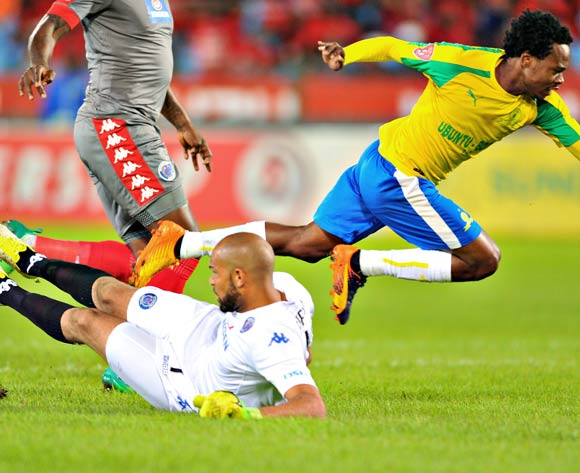 Percy Tau of Mamelodi Sundowns tackled by Reyaad Pieterse of Supersport United during the 2017 Absa Premiership 2016/17 match between Mamelodi Sundowns and Supersport United at the Loftus Stadium, South Africa on 13 April 2017 ©Samuel Shivambu/BackpagePix