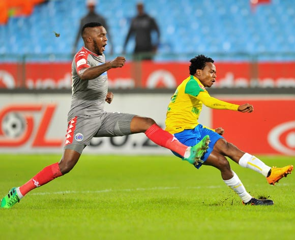 Percy Tau of Mamelodi Sundowns challenged by Morgan Gould of Supersport United during the 2017 Absa Premiership 2016/17 match between Mamelodi Sundowns and Supersport United at the Loftus Stadium, South Africa on 13 April 2017 ©Samuel Shivambu/BackpagePix