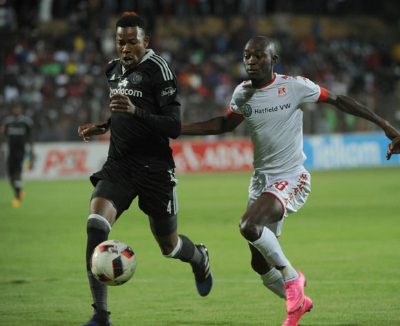 Happy Jele of Orlando Pirates challenges Peter Shalulile of Highlands Park during the Absa Premiership match between Highlands Park and Orlando Pirates  on 15 April 2017 at Makhulong Stadium ©Sydney Mahlangu /BackpagePix