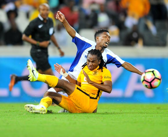 Buyani Sali of Chippa United tackled by Siphiwe Tshabalala of Kaizer Chiefs during the Absa Premiership 2016/17 match between Kaizer Chiefs and Chippa United at the Mbombela Stadium, South Africa on 15 April 2017 ©Samuel Shivambu/BackpagePix