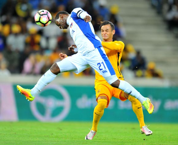 Thamsanqa Sangweni of Chippa United challenged by Gustavo Paez of Kaizer Chiefs during the Absa Premiership 2016/17 match between Kaizer Chiefs and Chippa United at the Mbombela Stadium, South Africa on 15 April 2017 ©Samuel Shivambu/BackpagePix
