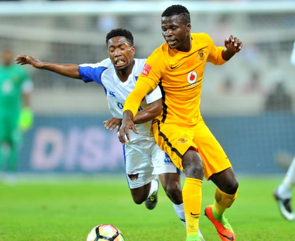 Buyani Sali of Chippa United tackled by Edmore Chirambadare of Kaizer Chiefs during the Absa Premiership 2016/17 match between Kaizer Chiefs and Chippa United at the Mbombela Stadium, South Africa on 15 April 2017 ©Samuel Shivambu/BackpagePix