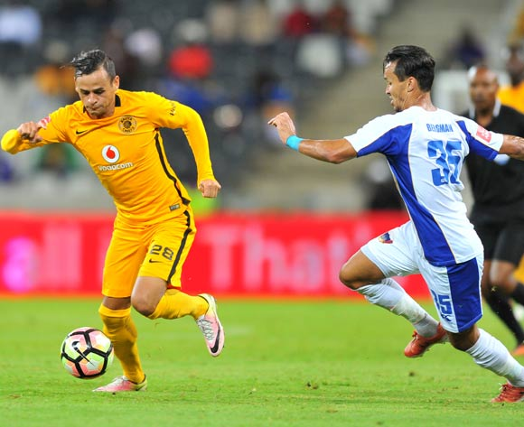 Gustavo Paez of Kaizer Chiefs challenged by Kristopher Bergma of Chippa United during the Absa Premiership 2016/17 match between Kaizer Chiefs and Chippa United at the Mbombela Stadium, South Africa on 15 April 2017 ©Samuel Shivambu/BackpagePix