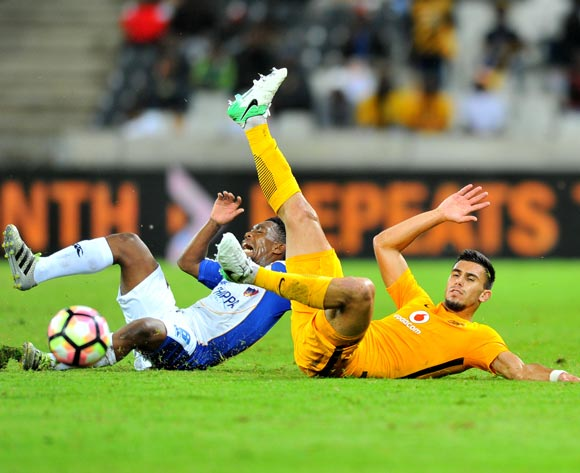 Buyani Sali of Chippa United tackled by Lorenzo Gordinho of Kaizer Chiefs during the Absa Premiership 2016/17 match between Kaizer Chiefs and Chippa United at the Mbombela Stadium, South Africa on 15 April 2017 ©Samuel Shivambu/BackpagePix