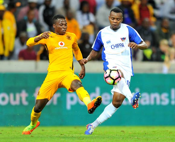 Andile Mbenyane of Chippa United challenged by Edmore Chirambadare of Kaizer Chiefs during the Absa Premiership 2016/17 match between Kaizer Chiefs and Chippa United at the Mbombela Stadium, South Africa on 15 April 2017 ©Samuel Shivambu/BackpagePix