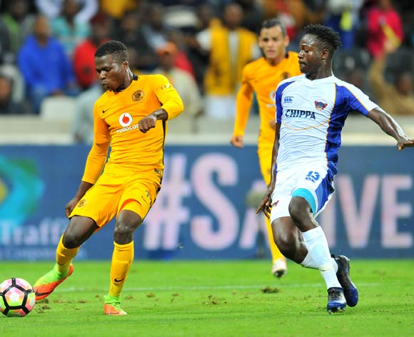 Edmore Chirambadare of Kaizer Chiefs challenged by Justice Chabalala of Chippa United during the Absa Premiership 2016/17 match between Kaizer Chiefs and Chippa United at the Mbombela Stadium, South Africa on 15 April 2017 ©Samuel Shivambu/BackpagePix