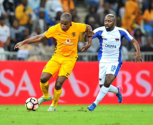 Willard Katsande of Kaizer Chiefs challenged by Sandile Zuke of Chippa United during the Absa Premiership 2016/17 match between Kaizer Chiefs and Chippa United at the Mbombela Stadium, South Africa on 15 April 2017 ©Samuel Shivambu/BackpagePix