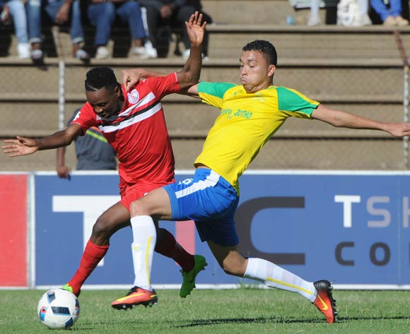 Sinethemba Jantjie of Free State Stars is challenged by Ricardo Nacimento of Mamelodi Sundowns during the Absa Premiership match between Free State Stars and Mamelodi Sundowns  on 16 April 2017 at James Motlatsi Stadium ©Sydney Mahlangu /BackpagePix