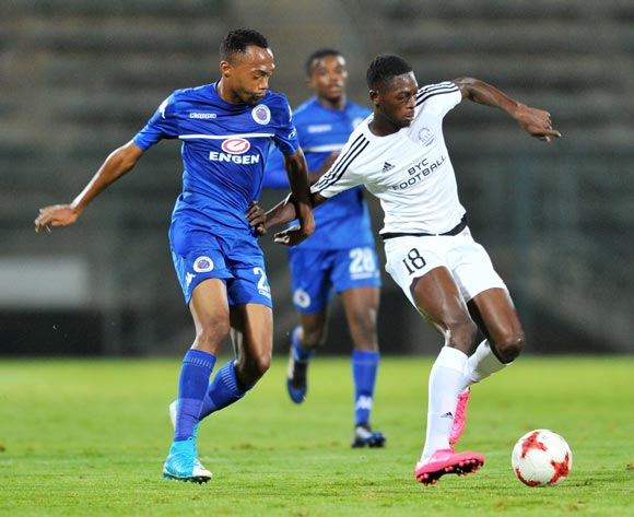 Abdulal Bility of Barrack Young Controller challenged by Thabo Mynamane of Supersport United during the 2017 CAF Confederation Cup match between Supersport United and Barrack Young Controller at the Lucas Moripe Stadium, South Africa on 16 April 2017 ©Samuel Shivambu/BackpagePix